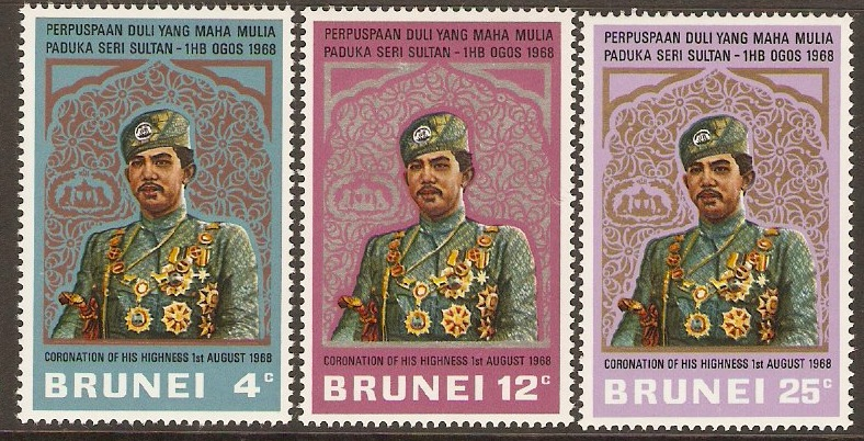 Brunei 1968 Sultans Coronation Set. SG157-SG159.