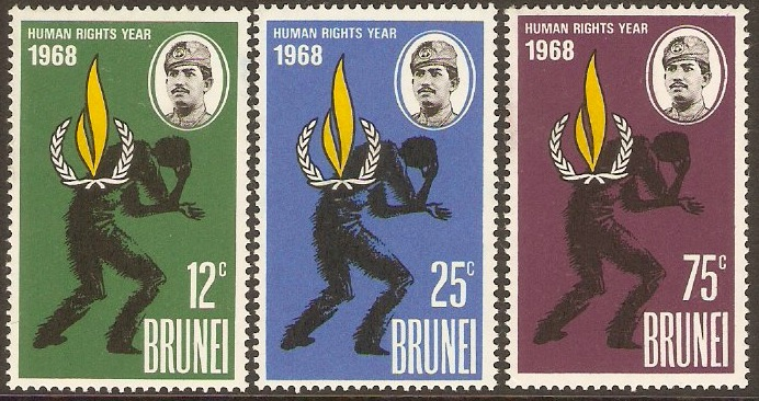 Brunei 1968 Human Rights Year Set. SG163-SG165.