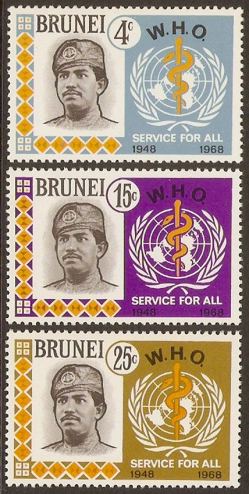 Brunei 1968 WHO Anniversary Set. SG163-SG165.
