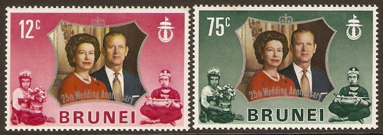 Brunei 1972 Royal Silver Wedding. SG210-SG211.