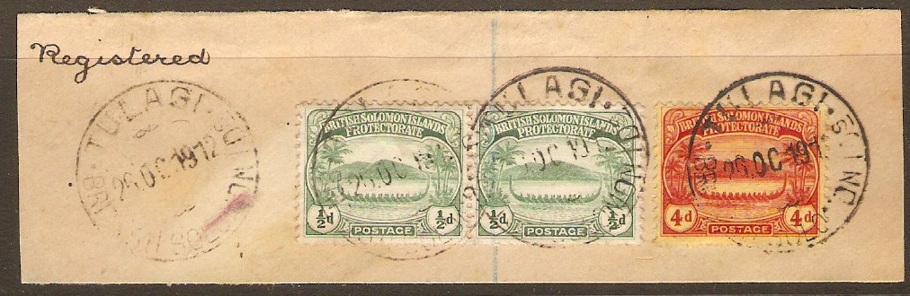 British Solomon Islands1908 ½d Grn and 4d Red on yell. SG8-SG11a