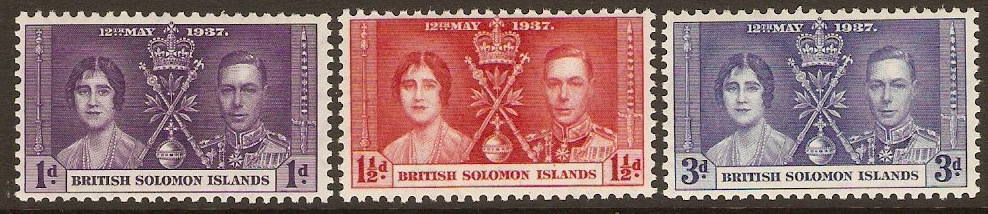 British Solomon Islands 1937 Coronation Set. SG57-SG59.