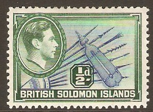British Solomon Islands 1939 ½d Blue and blue-green. SG60.