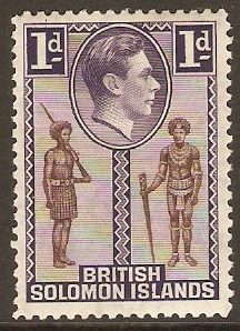 British Solomon Islands 1939 1d Brown and deep violet. SG61.