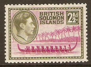 British Solomon Islands 1939 2½d Magenta and sage-green. SG64.