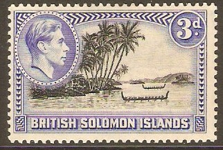 British Solomon Islands 1939 3d Black and ultramarine. SG65.