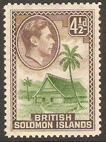 British Solomon Islands 1939 4½d Green and chocolate. SG66.