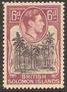 British Solomon Islands 1939 6d Dp violet and redsh-purp. SG67.