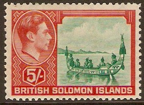 British Solomon Islands 1939 5s Emerald-green and scarlet. SG71.