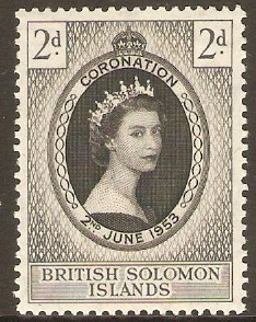 British Solomon Islands 1953 Coronation Stamp. SG81.