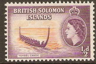 British Solomon Islands 1956 ½d Orange and purple. SG82.