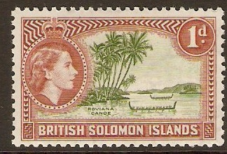 British Solomon Islands 1956 1d Yellow-green and red-brown. SG83