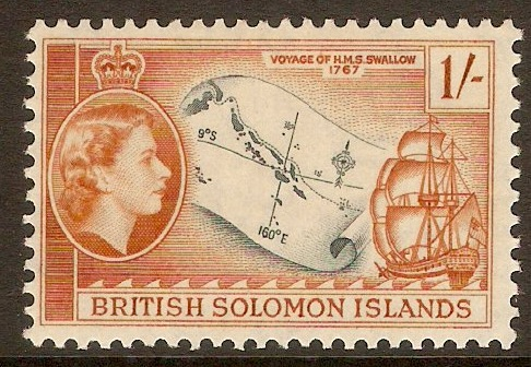 British Solomon Islands 1956 1s Slate and orange-brown. SG91a.