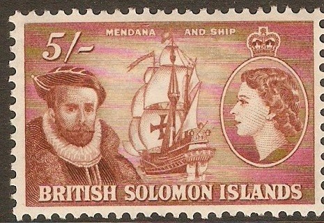 British Solomon Islands 1956 5s Red-brown. SG94.