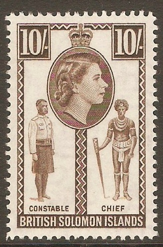 British Solomon Islands 1956 10s Sepia. SG95.