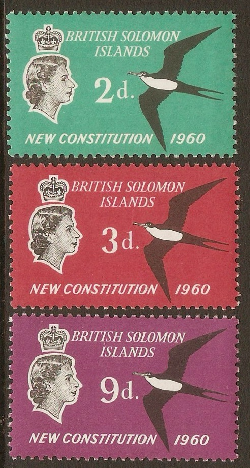 British Solomon Islands 1961 New Constitution Set. SG97-SG99.