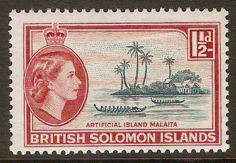 British Solomon Islands 1963 1½d Slate-green and red. SG104.