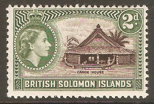 British Solomon Islands 1963 2d Deep brown and dull green. SG105