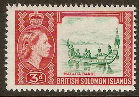 British Solomon Islands 1963 3d Yellowish-green and red. SG106a.