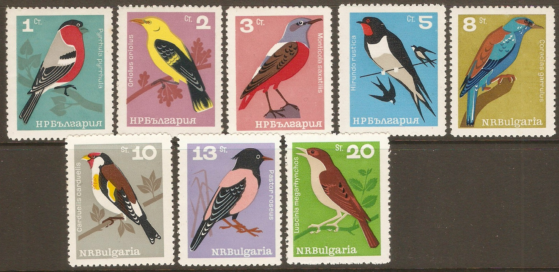 Bulgaria 1965 Song Birds set. SG1517-SG1524.