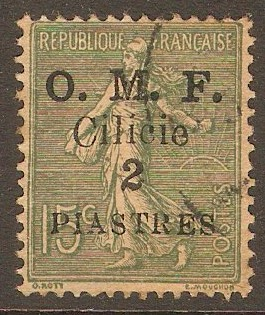 Cilicia 1920 2pi on 15c Slate-green. SG104.