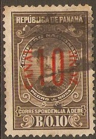 Canal Zone 1915 10c on 10c Brown. SGD64.