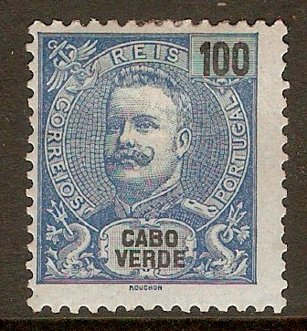 Cape Verde Islands 1898 100r Blue on blue. SG69.