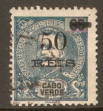 Cape Verde Islands 1905 50r on 65r Dull blue. SG119.