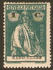 Cape Verde Islands 1920 1c Deep blue-green. SG211.
