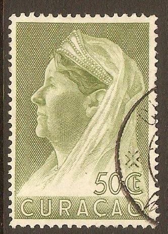 Curacao 1936 50c Yellow-green Queen Wilhelmina series. SG169.