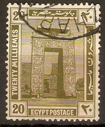 Egypt 1914 20m Olive - Cultural series. SG79.