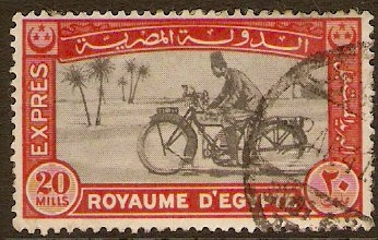 Egypt 1926 20m Black and red Express Letter Stamp. SGE139.