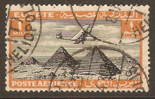 Egypt 1933 1m Black and orange Air Series. SG193. - Click Image to Close