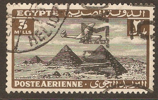 Egypt 1933 3m Black and brown Air Series. SG196.