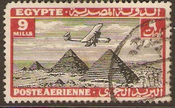 Egypt 1933 9m Black and red Air Series. SG202.