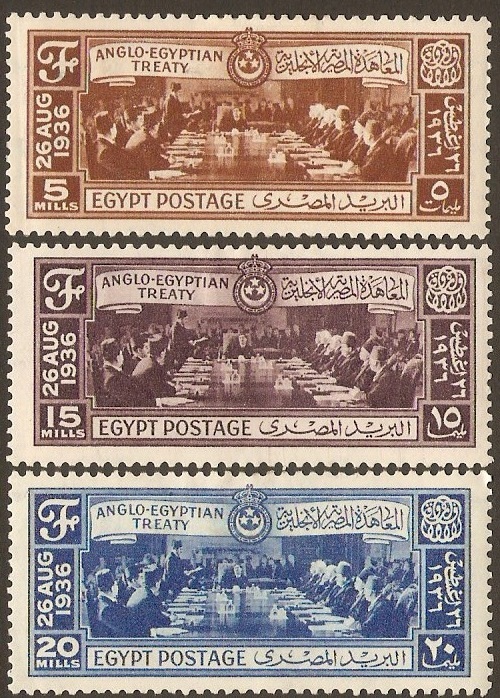 Egypt 1936 Anglo-Egyptian Treaty Set. SG245-SG247.