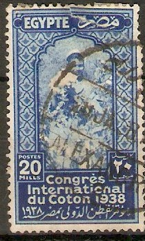 Egypt 1938 20m Blue - Cotton Congress seriess. SG268.