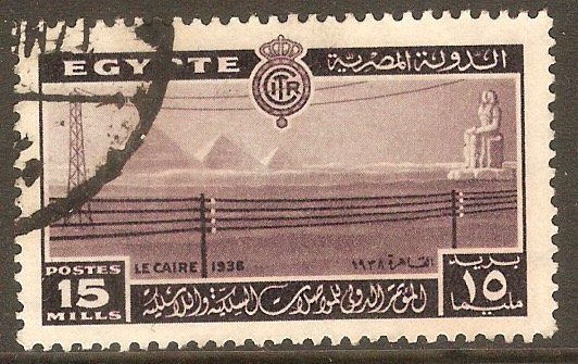 Egypt 1938 15m Purple - Telecomms Conference. SG270.