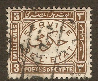 Egypt 1938 3m Brown - Official Stamp. SGO278.