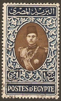 Egypt 1939 £E1 Brown and blue King Farouk Series. SG283.