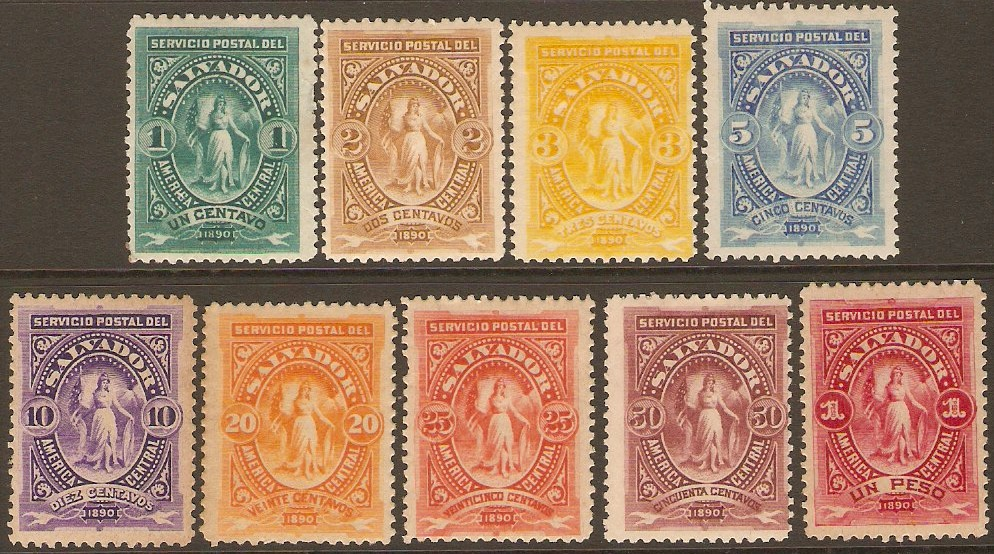El Salvador 1890 Definitives Set. SG30-SG38.