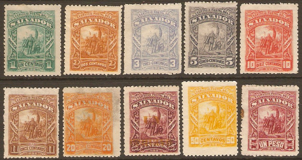 El Salvador 1892 Definitives Set. SG52-SG61.