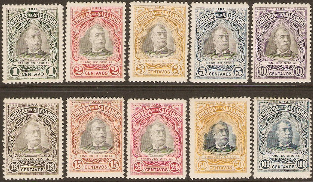 El Salvador 1906 Official Set. SGO582-SGO591.
