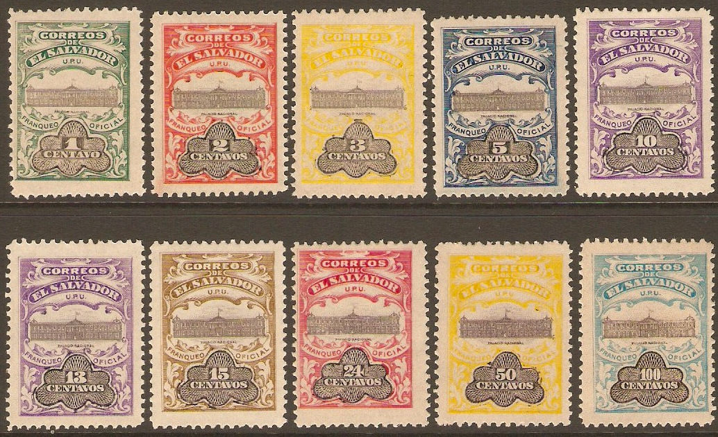 El Salvador 1908 Official Set. SGO611-SGO620.