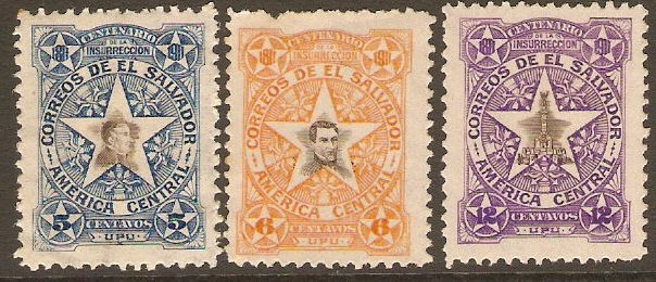 El Salvador 1911 Insurrection Anniversary Set. SG655B-SG657B.