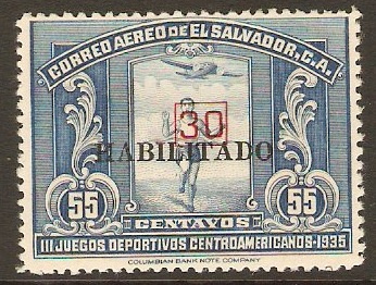 El Salvador 1937 30 on 55c Blue. SG873.