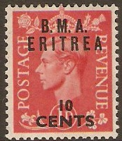 Eritrea 1948 10c on 1d Pale scarlet. SGE2.