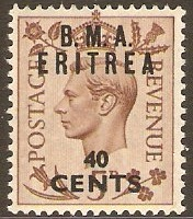 Eritrea 1948 40c on 5d Brown. SGE6.