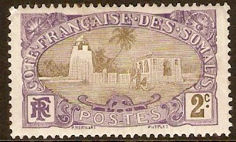 French Somali Coast 1909 2c Olive and violet. SG152.