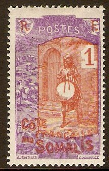 French Somali Coast 1915 1c Brown and violet. SG168.